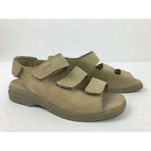 Ecco Shock Point Beige Leather Strap Cork Sandals